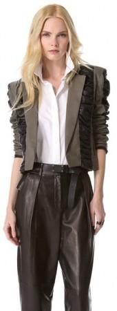 Elise overland Leather Bolero with Ruched Panels