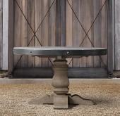 English Trestle Concrete & Teak Round Dining Table