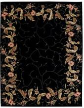 "Nourison Area Rug, Julian JL46 Floral Border Black 5' 3"" x 8' 3"""