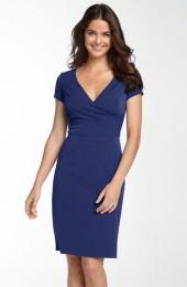 Donna Ricco Seamed Stretch Twill Sheath Dress