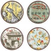 "Fringe ""Peacock"" Coasters, Set of 4"