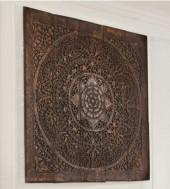 Teak Lotus Panel