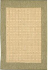 "Couristan Area Rug, Recife Indoor/Outdoor 1005/5005 Checkered Field Natural-Green 5' 9"" x 9' 2"""
