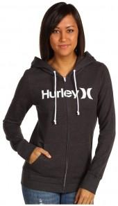 Hurley - One and Only Slim Fleece Zip Hoodie (Black) - Apparel