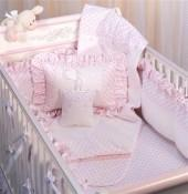 Jolie Hearts Crib Three Piece Bedding