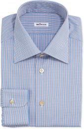 Kiton Plaid Shirt with Stripes, Blue/Red