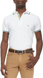 Etro Tipped Short-Sleeve Polo, White