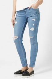 Topshop Moto High Rise Ripped Jeans (Light Denim)