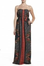 Lavendar Brown Tapestry Printed Maxi Dress