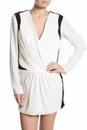 Finders Keepers Lose Yourself Long Sleeve Dress Ivory/Black