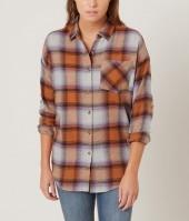Women's Flannel Shirt in Orange by Daytrip.