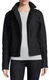 Sorel Asymmetric Quilted Moto Jacket, Black