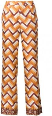 For Restless Sleepers chevron print straight trousers