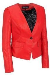 Black Rivet Womens Single Button Faux-Leather Blazer