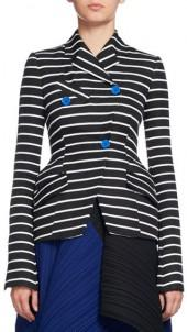 Proenza Schouler Striped Asymmetric Suiting Jacket, Black/White