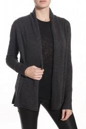 WHITE & WARREN High Low Open Cardigan Sweater Slate