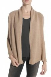 White + Warren High Low Open Cardigan Sweater Camel