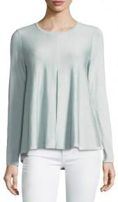 Lafayette 148 New York Cashmere-Silk Blend Pleat-Front Sweater
