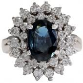 14K White Gold Blue Sapphire Diamond Ring Size 5.5