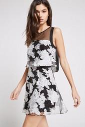 BCBGeneration Flounced Floral Organza Flare Dress