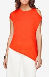 BCBGMAXAZRIA Danta Cold-Shoulder Asymmetrical Top