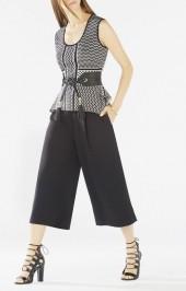 BCBGMAXAZRIA Karlyn Peplum Knit Jacquard Top