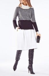 BCBGMAXAZRIA Shayna Turtleneck Color-Blocked Cable-Knit Sweater