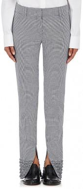 Cedric Charlier CEDRIC CHARLIER WOMEN'S SHIRRED-CUFFS HOUNDSTOOTH PANTS
