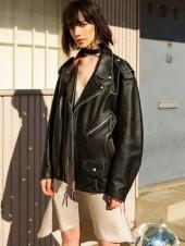 LUCIA OVERSIZED LEATHER JACKET awa084w Black