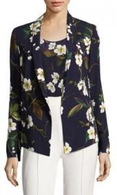 Escada Floral-Print Shawl Jacket