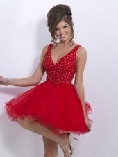 Blush - X150 Bedazzled V-neck A-line Dress