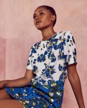 Colourblock floral tunic dress