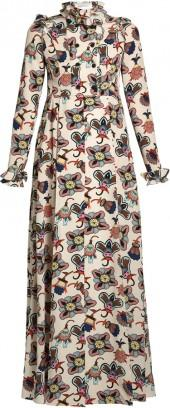 VALENTINO Floral-print ruffled-neck gown