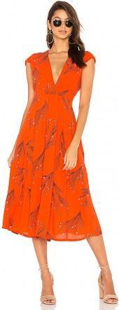 Free People Printed Retro Midi Dress in Red