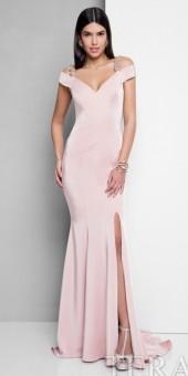 Terani Couture Embellished Cold Shoulder Fitted Evening Dress