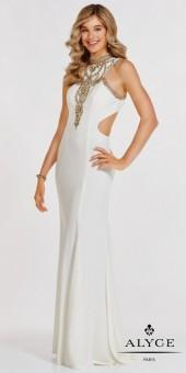Alyce Paris High Neck Racer Cutout Beaded Prom Dress