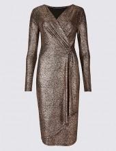 Crackle Drape Long Sleeve Wrap Midi Dress