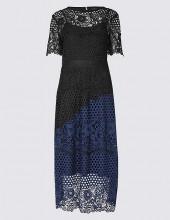 Lace Colour Block Short Sleeve Midi Dress