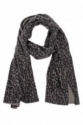 White + Warren Paw Printed Scarf Grey