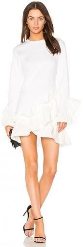GOEN.J Poplin Ruffle Mini Dress in Ivory
