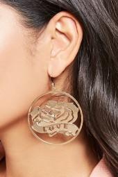 FOREVER 21 Rose Hoop Earrings