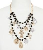 Southern Living Brooks Cross & Coin Rosary Beaded Multi-Strand Statement Necklace
