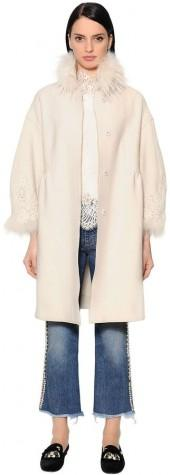 Wool Coat W/ Lace & Fox Fur