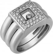 Chopard Estate Happy Diamonds 18k White Gold Wide Square Ring, Size 6.5