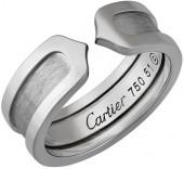 Cartier Estate Logo de Cartier 18k White Gold Double-C Ring, Size 6