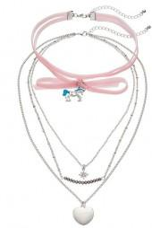 Mudd® Pink Velvet Unicorn Choker & Layered Heart Pendant Necklace Set