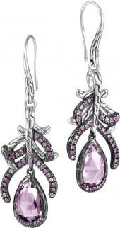 John Hardy Batu Classic Chain Feather Drop Earrings w/ Amethysts & Diamonds