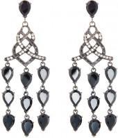 John Hardy Batu Classic Chain Chandelier Earrings w/ Diamonds & Chalcedony, Black