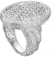John Hardy Classic Chain Oval Pave Diamond Ring, Size 7