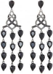 John Hardy Batu Classic Chain Chandelier Earrings w/ Chalcedony & Sapphire, Black